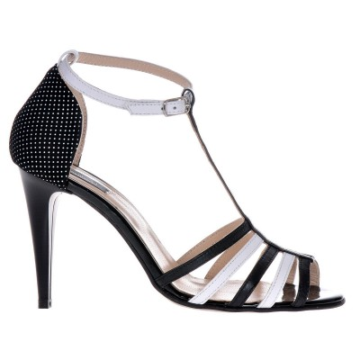 Sandale Dama Alb cu Negru din Piele Naturala - Cod N90