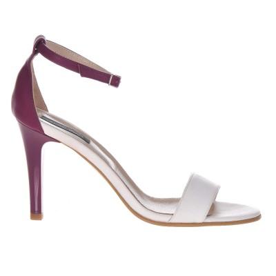 Sandale Dama Piele Naturala Alb-Mov - Cod N71