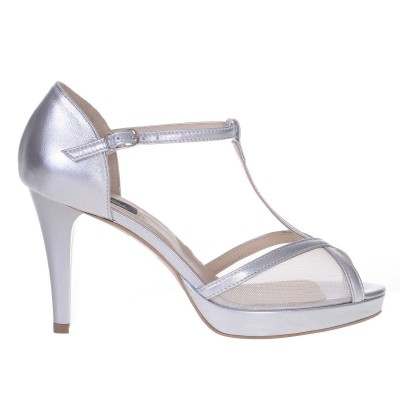 Sandale de Dama din Piele Naturala Argintie cu Plasa - Cod N127