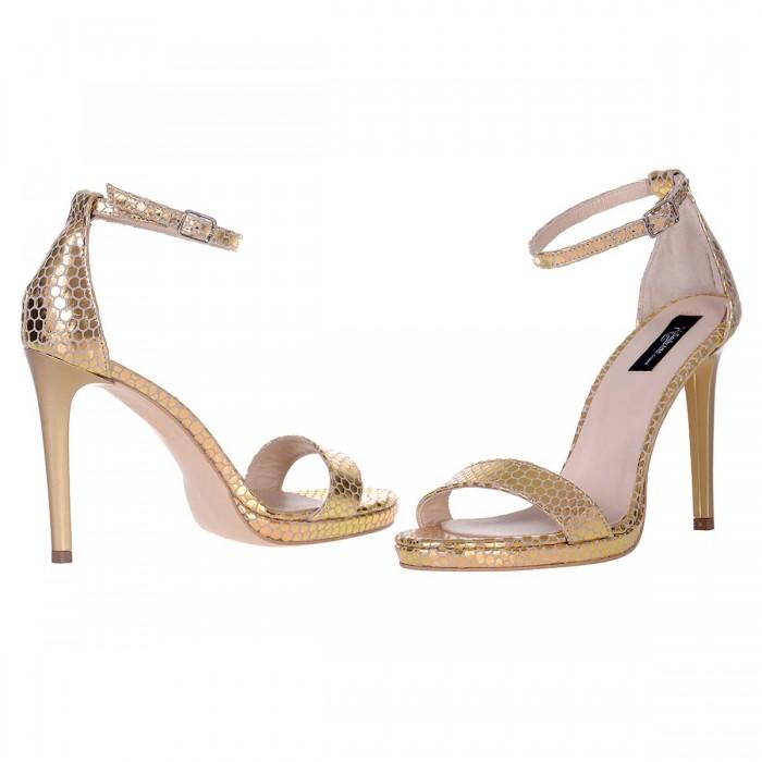 Sandale Dama Piele Naturala Aurie cu Imprimeu - Cod N122