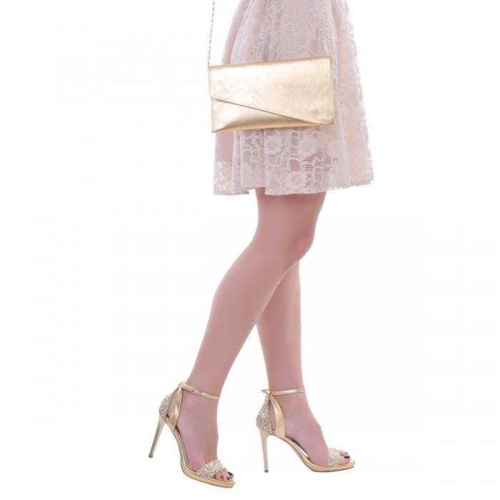 Sandale Aurii Dama Piele Naturala si Glitter - Cod N102
