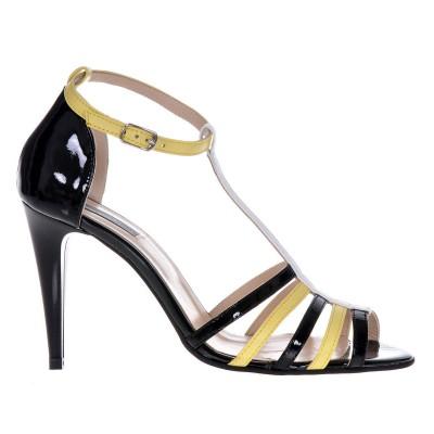 Sandale Dama Galben cu Negru Din Piele Naturala- Cod N91