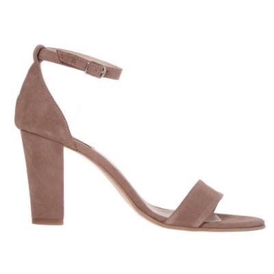 Sandale cu toc gros Piele Naturala Intoarsa Cappuccino - Cod N117