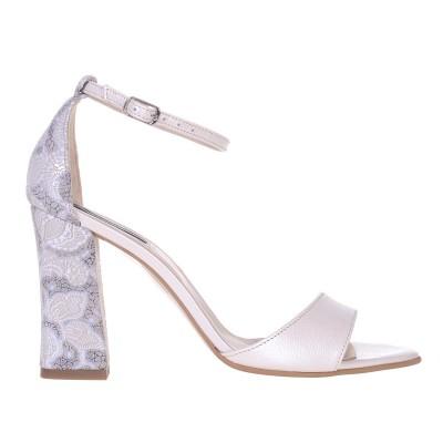 Sandale Dama din Piele Naturala Ivory si Imprimeu- Cod N123