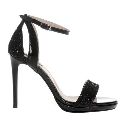 Sandale Dama Piele Naturala Lacuita si Glitter Negru - Cod N118