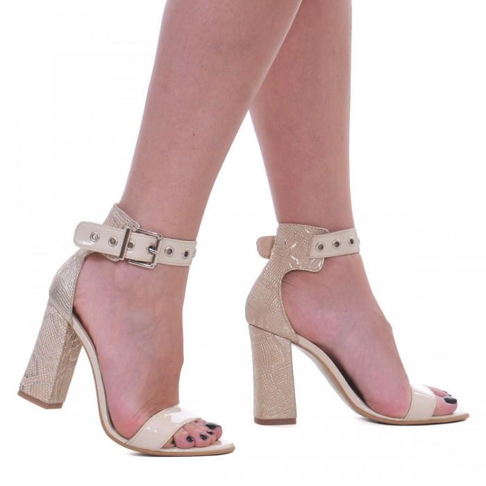 Sandale Dama din Piele Naturala Nude cu Imprimeu - Cod N108