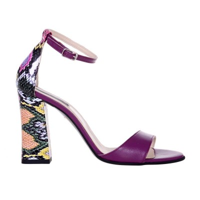 Sandale Dama din Piele Naturala Mov si Imprimeu- Cod N140