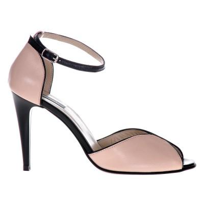 Sandale Dama Piele Naturala Nude decor Negru - Cod N85