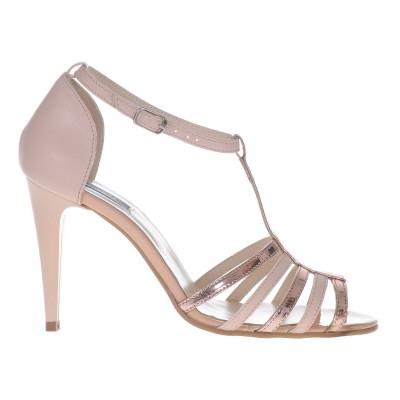Sandale Dama Piele Naturala Nude si Auriu Oglinda - Cod N89