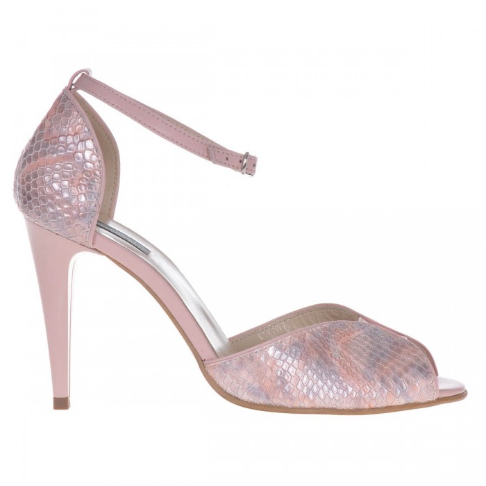 Sandale Dama Piele Naturala Roz - Imprimeu de Sarpe - Cod N86