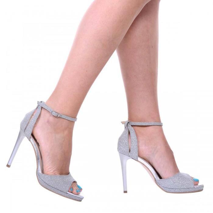Sandale Dama Piele Naturala si Glitter Argintiu - Cod N138
