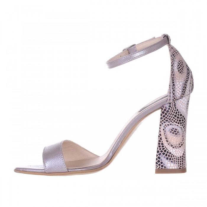 Sandale Dama din Piele Naturala Taupe si Imprimeu- Cod N124