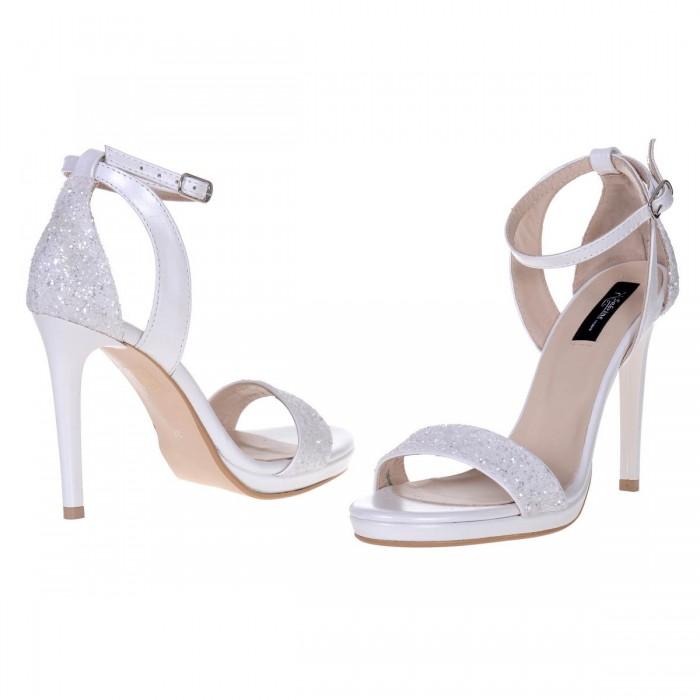 Sandale Dama Elegante De Mireasa Piele Naturala Alba si Glitter  - Cod N119