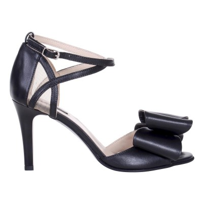 Sandale Dama din Piele Naturala Neagra si Funda - Cod N141