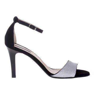 Sandale Piele Naturala Intoarsa Neagra si Glitter Argintiu - Cod N133