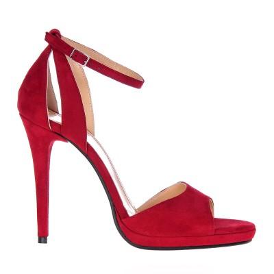 Sandale Dama Piele Intoarsa Rosie - Cod N120