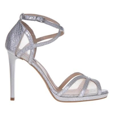 Sandale Elegante Piele Naturala cu Imprimeu Sarpe Argintiu - Cod N95
