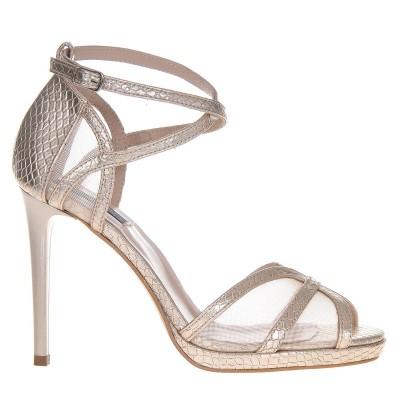 Sandale Elegante Piele Naturala cu Imprimeu Sarpe Auriu - Cod N94