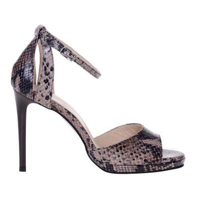 Sandale Piele Naturala cu Imprimeu Sarpe Maro - Cod N134