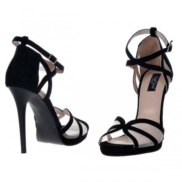 Sandale Elegante Piele Naturala Intoarsa Neagra - Cod N73