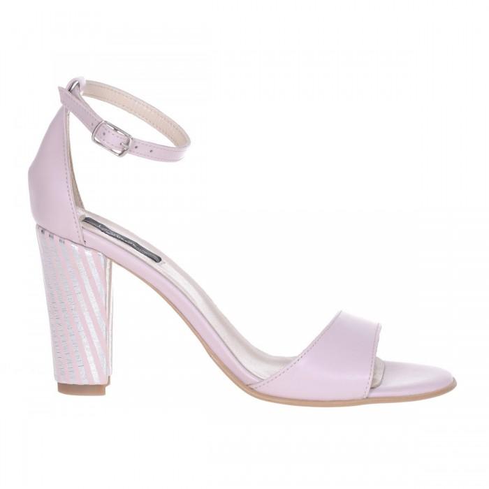 Sandale cu toc gros Piele Naturala Roz Pudra si Imprimeu - Cod N142