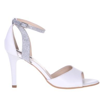 Sandale Dama Piele Naturala Alba si Glitter - Cod N135