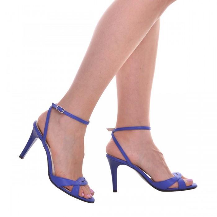 Sandale cu Toc Comod Piele Naturala Albastra - Cod N150
