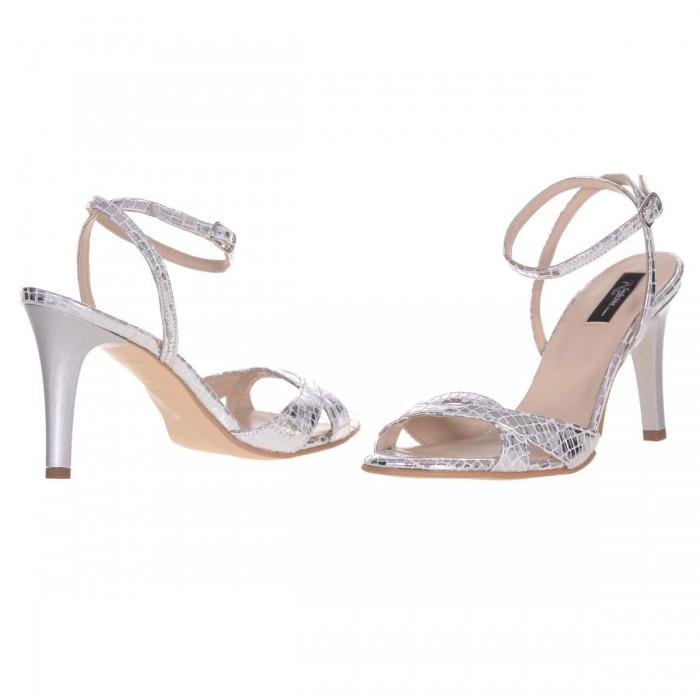 Sandale cu Toc Comod Piele Imprimeu Argintiu - Cod N152