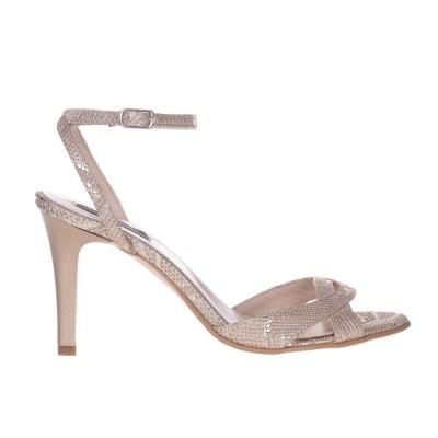 Sandale cu Toc Comod Piele Imprimeu Auriu - Cod N151