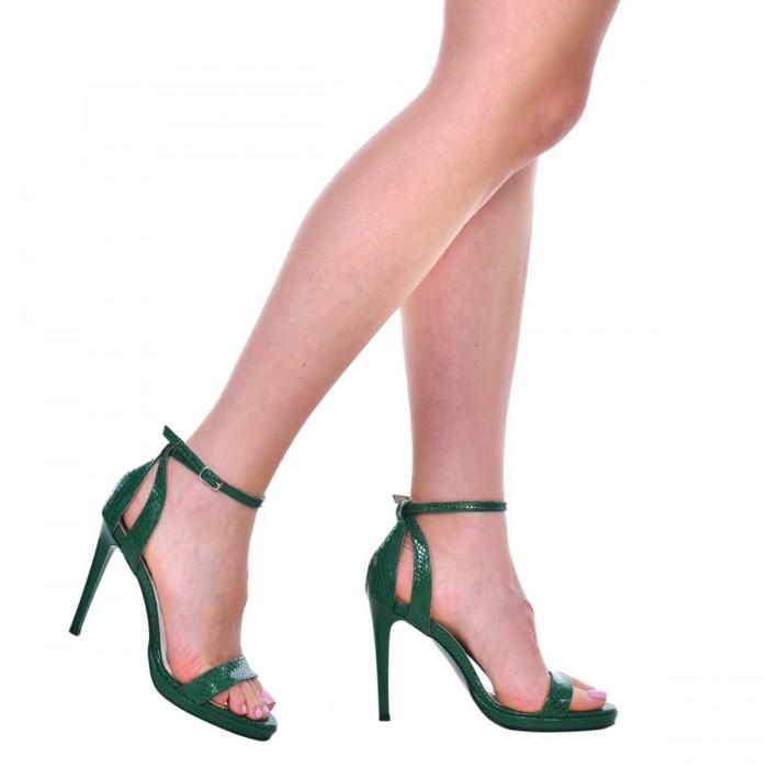 Sandale Dama Piele Naturala Imprimeu Sarpe Verde - Cod N153