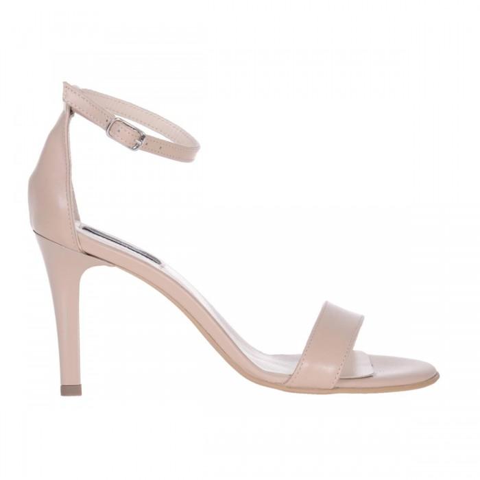Sandale Dama Piele Naturala Crem cu Toc Comod - Cod N143