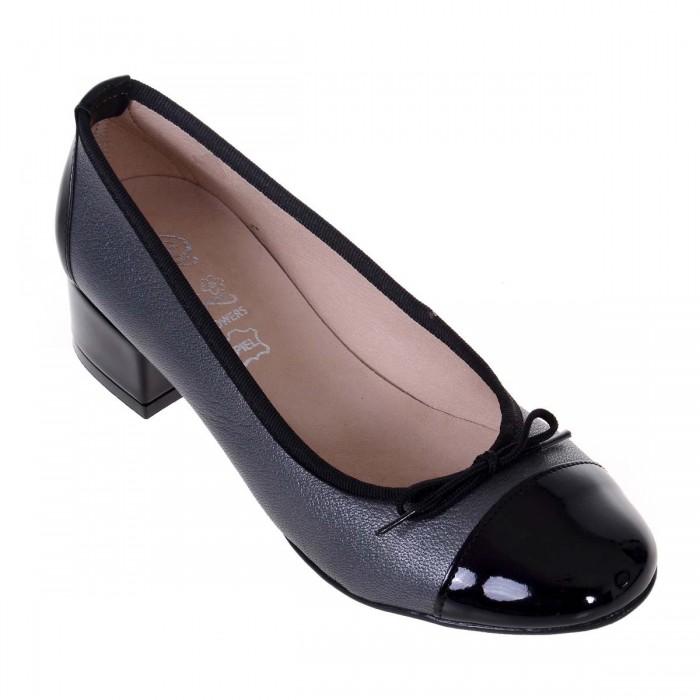 Pantofi Office din Piele Naturala Neagra si Argintiu - Gloria
