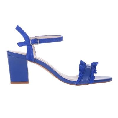 Sandale Piele Naturala Albastru Electric - Calista