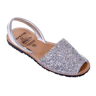 Sandale AVARCA din Glitter Argintiu