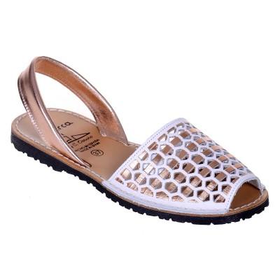 Sandale AVARCA din Piele Alba cu Auriu Roze