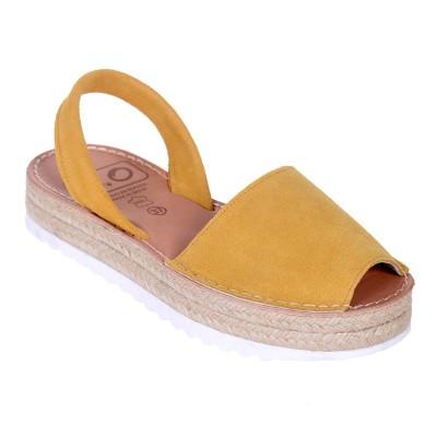 Sandale AVARCA din Piele Galben Mustar