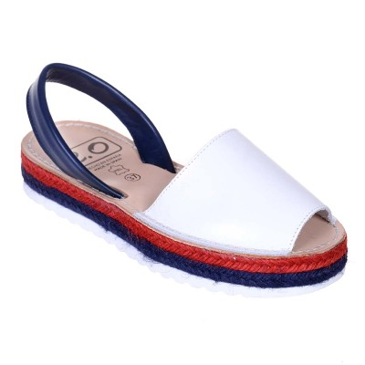 Sandale AVARCA din Piele Alba cu talpa dubla