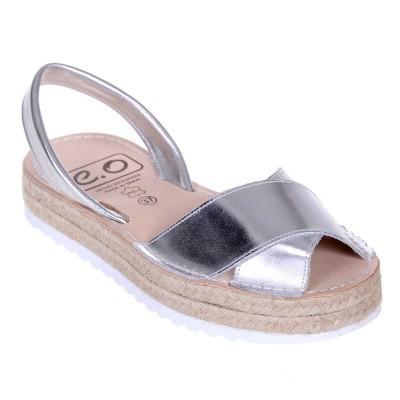 Sandale AVARCA din Piele Argintie cu talpa dubla - Analisa