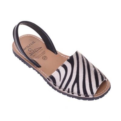 Sandale AVARCA Piele Naturala de Ponei Zebra Print Alb-Negru