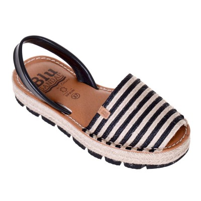 Sandale AVARCA din Iuta si Piele Naturala Neagra - Natalia