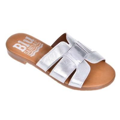 Papuci dama talpa joasa Piele Naturala Argintie - Ovo