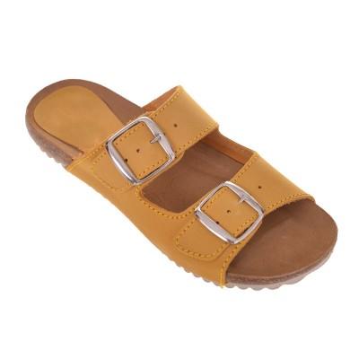 Sandale dama tip Papuc piele naturala galbena - Tania
