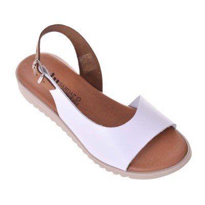 Sandale dama Casual Piele Naturala Alba - Muna