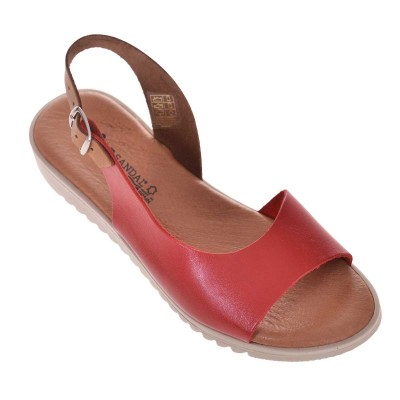 Sandale dama Casual Piele Naturala Rosie - Muna