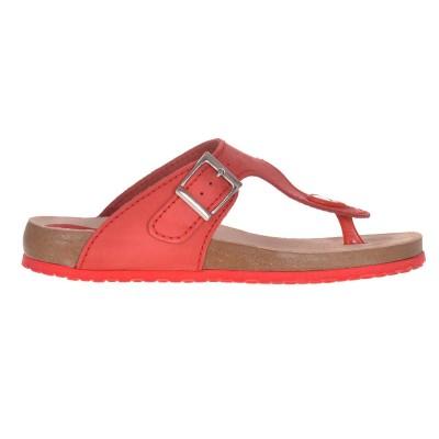 Sandale Dama tip Papuc Piele Naturala Rosie - Alida