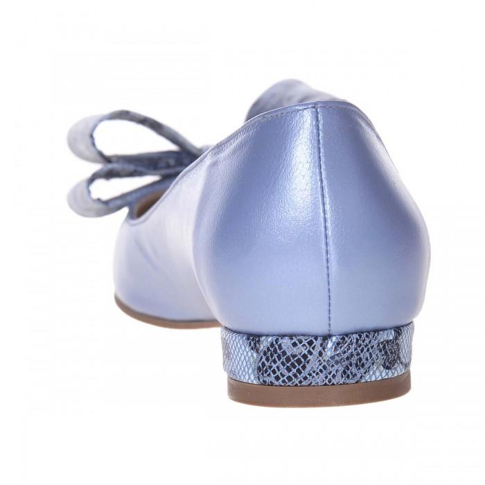Balerini Dama Piele Naturala Bleu si Funda Colorata - Cod L87