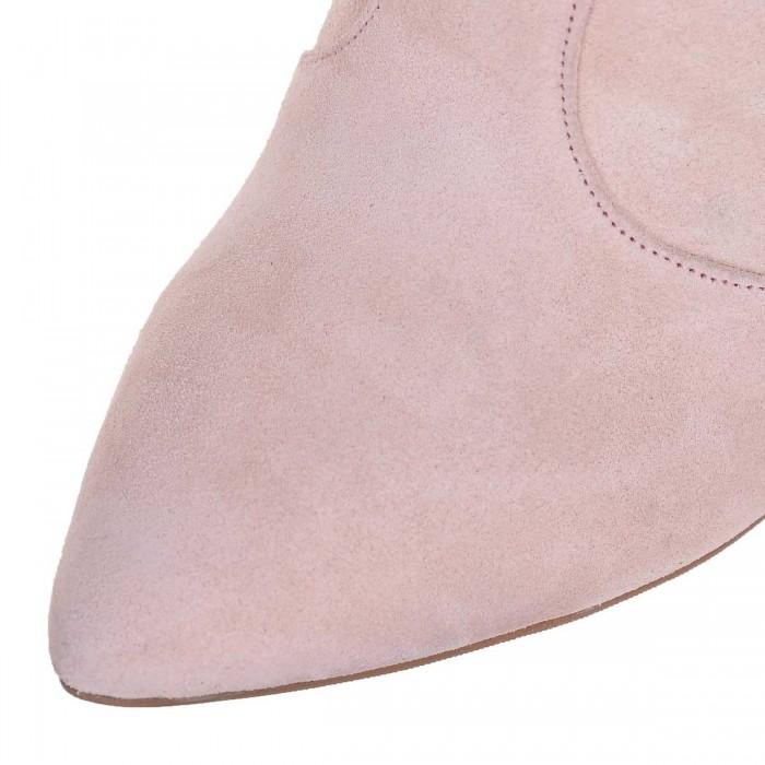 Ciocate Stiletto cu Toc Conic din Piele Intoarsa Nude-Roze - Cod B330