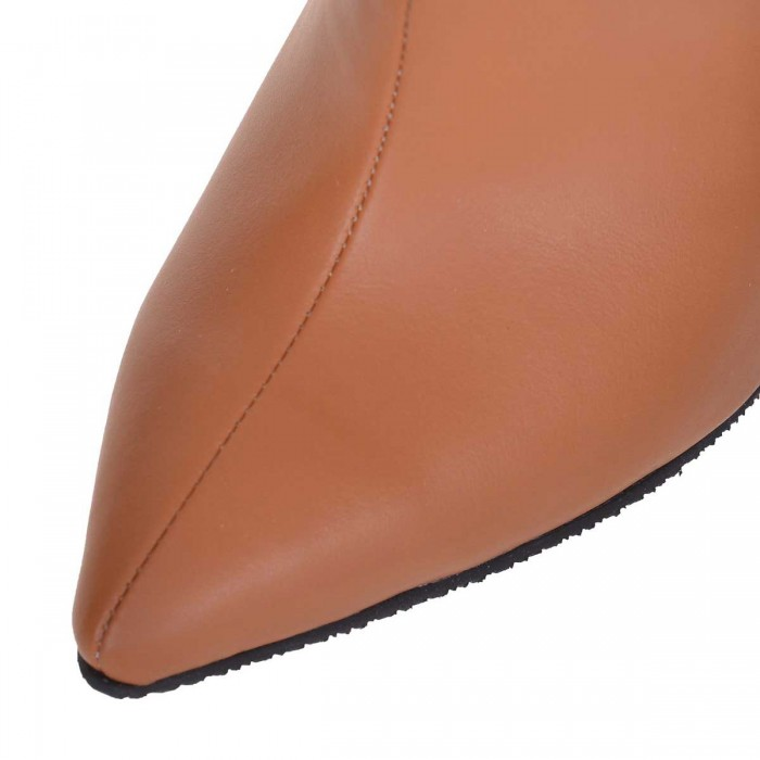 Cizme Stiletto Fronsate din Piele Naturala Camel - Cod C266
