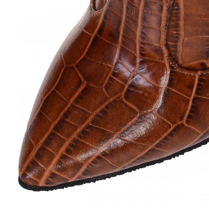 Cizme Stiletto Piele Imprimeu Croco Maro - Cod C259