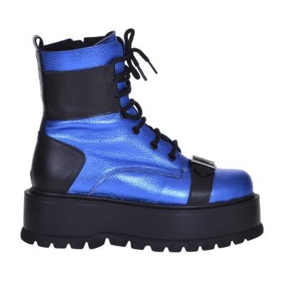 Bocanci Piele Naturala Albastru Metalizat - Cod B331